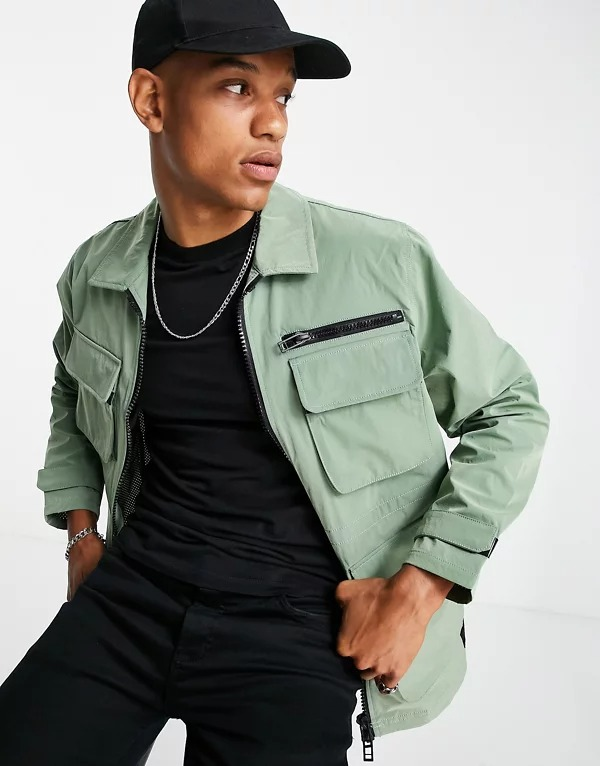 Chaqueta verde claro de estilo militar de Topman