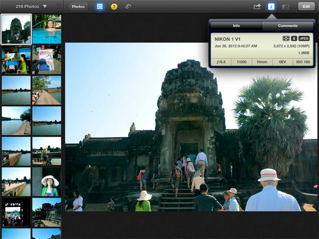 Captura de pantalla de iPhoto en el iPad de tercera generación