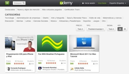 Búsqueda y selección de cursos en Udemy
