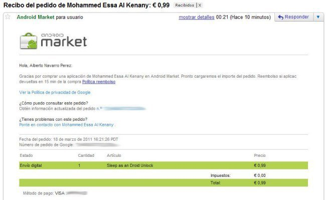 Mail de confirmación de Andorid Market