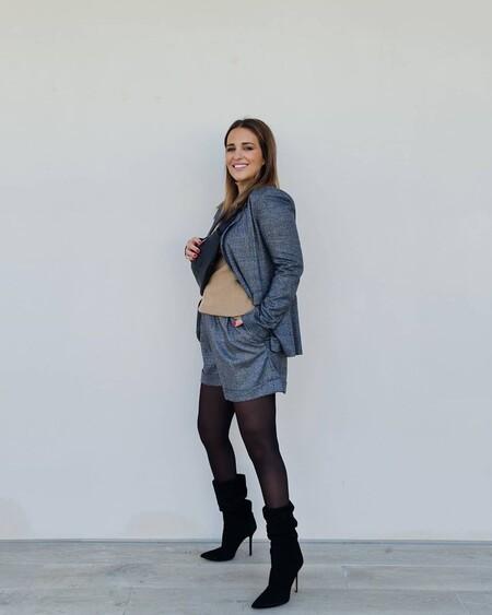 Paula Echevarría apuesta por un sofisticado traje con short en su último look premamá