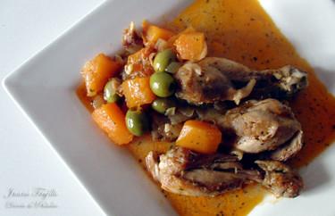 Pollo con calabaza y aceitunas. Receta