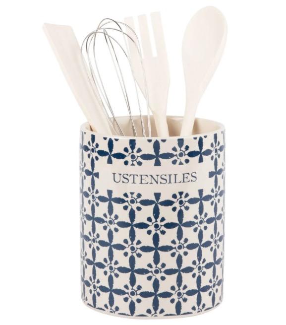 Tarro de utensilios de gres con motivos decorativos gráficos y azules