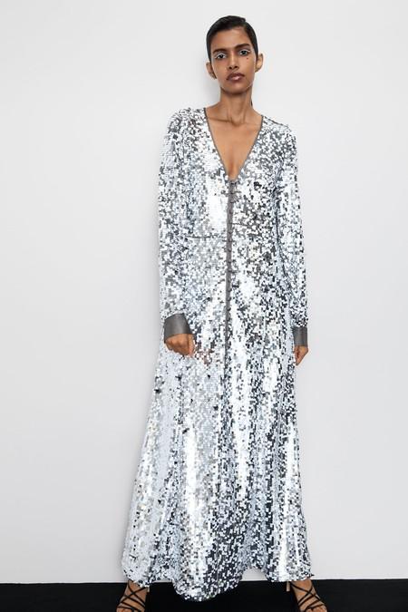 Vestido Plateado Zara 9