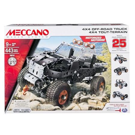 Con este Meccano motorizado 4x4 puedes contruir 25 vehiculos diferentes por 44,65 euros. Envío gratuito en Amazon