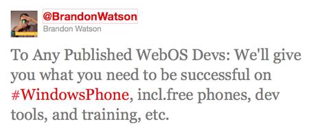 Más de 1.000 desarrolladores de WebOS dispuestos a pasarse a Windows Phone