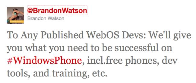 WebOS a Windows Phone