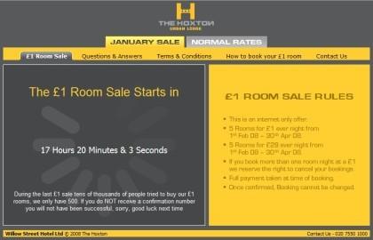 Hoxton Hotels: habitación de lujo a 1£ la noche