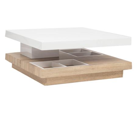 Mesa de centro blanca y madera