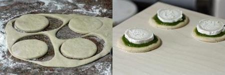 Hacer minipizzas de pesto y rulo de cabra