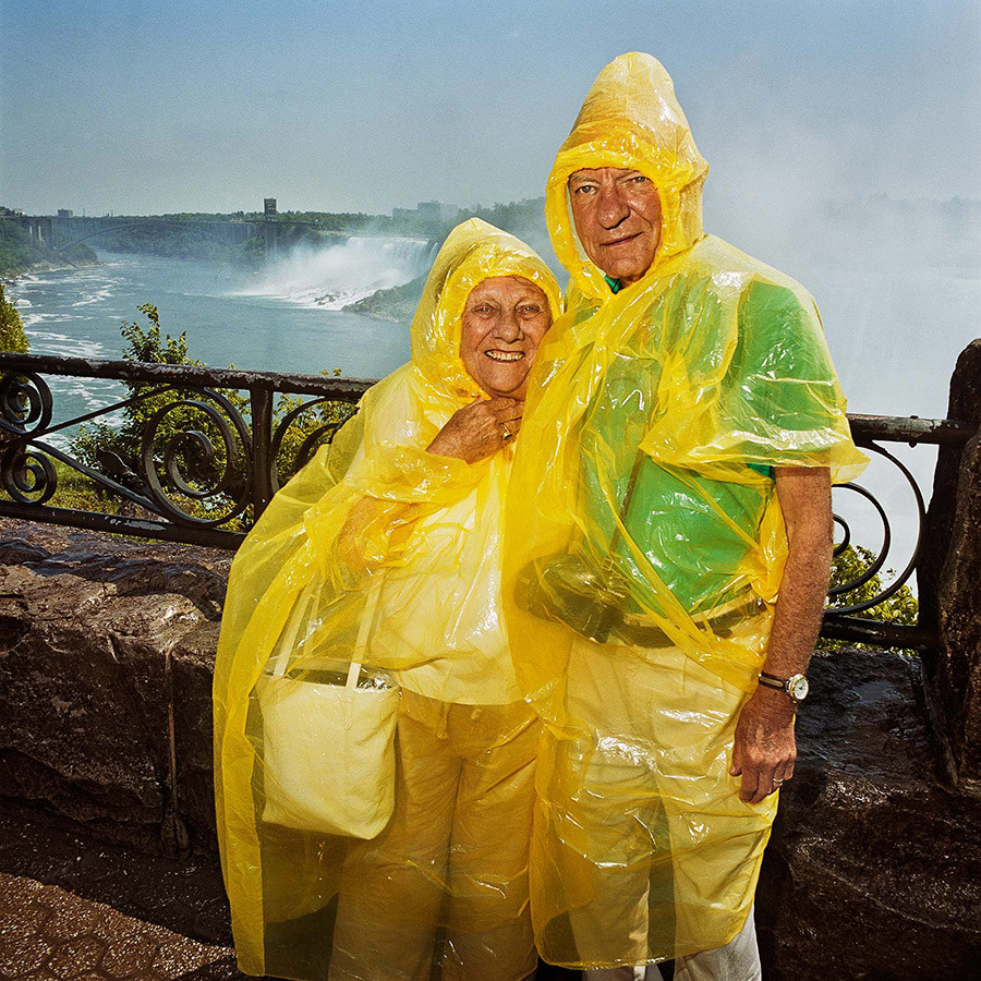Couple Under Raingear At Niagra Falls On Canadian Side