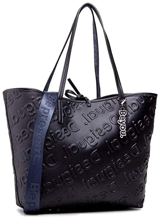 Desigual PU Shopping Bag, Bolsa de la Compra para Mujer, Azul, Medium