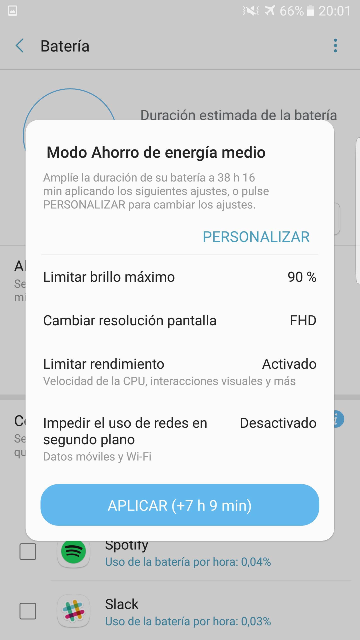 Galaxy Note 7 ahorro energía