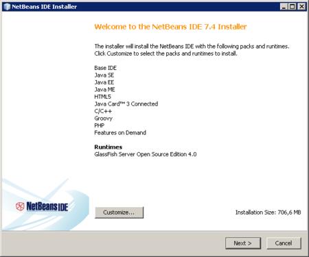 NetBeans - pantalla inicial