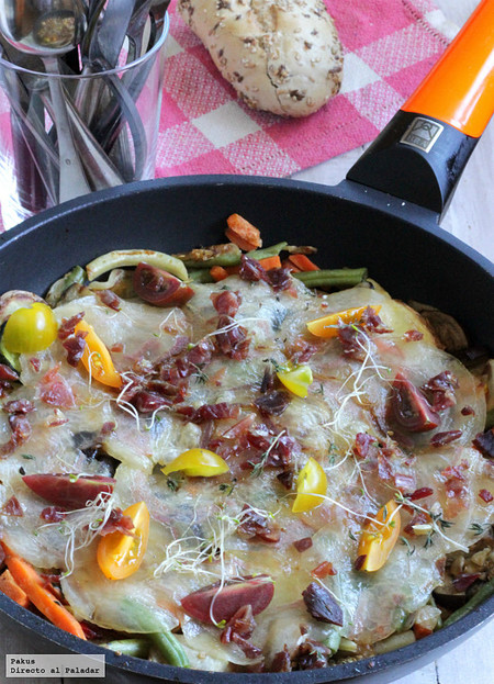 Verduras y hortalizas salteadas con velo de ibérico, receta para sorprender