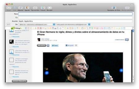 Envio del contenido de una web visualizada en Safari mediante Mail