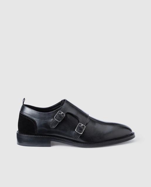 Zapatos de hebillas de hombre Fórmula Joven de piel en color negro