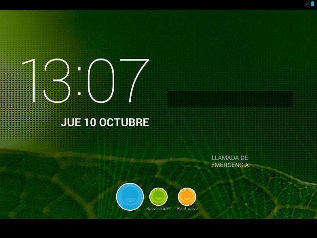 Pantalla de inicio de Android 4.3 con perfiles creados