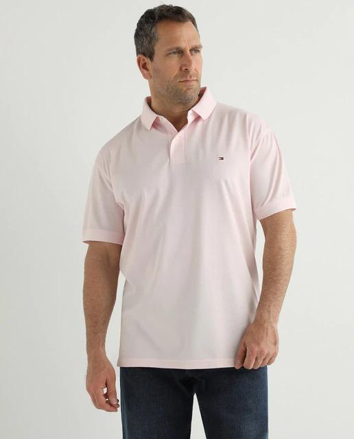 Polo básico de hombre regular fit en piqué rosa tallas grandes