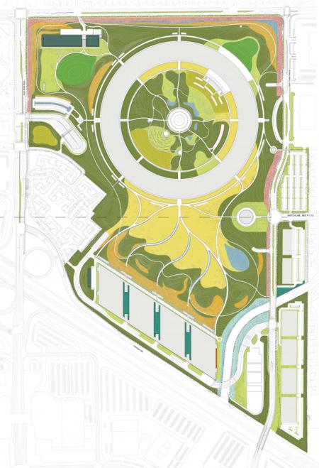Zonas verdes del nuevo campus de Apple