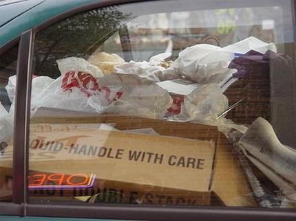 Interior coche sucio