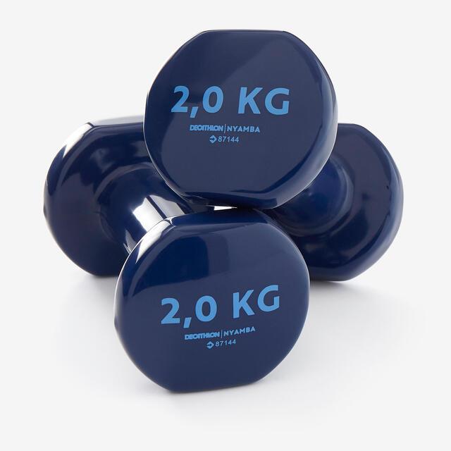 Mancuernas Vinilo 2 x 2kg. Fitness Gym Pilates Nyamba azul oscuro.