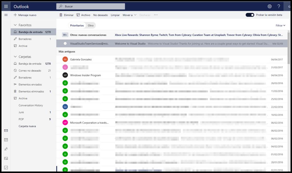 Outlook Bandeja Beta