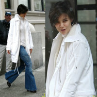 Katie Holmes ama los pantalones de campana