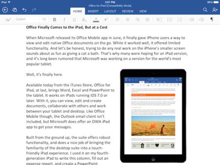 Office en el iPad, ¿La capitulación de Microsoft ante las exigencias económicas de Apple?
