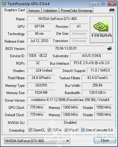 NVidia GTX 460 GPUz