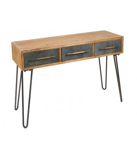 Escritorio Natural Madera Y Abeto Retro 120 X 42 80 Kd Home 1