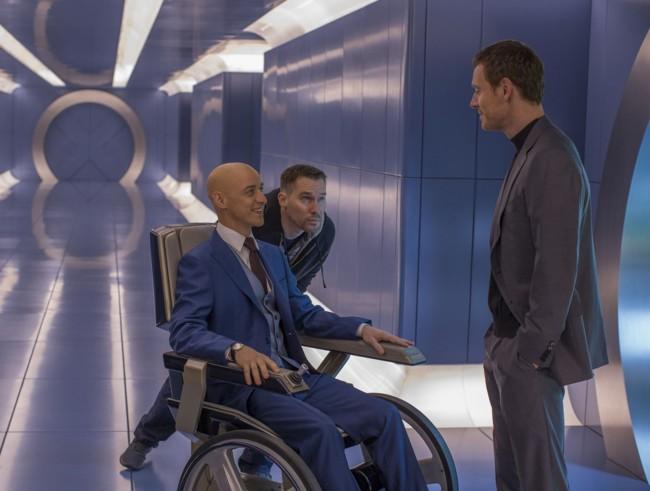 James McAvoy, Bryan Singer y Michael Fassbender en el rodaje