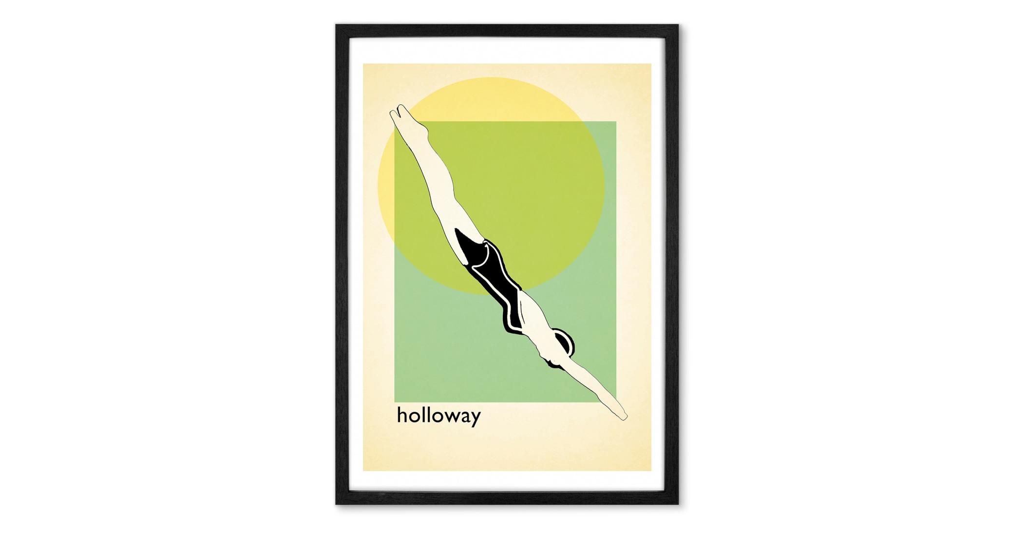 Lámina enmarcada vintage Holloway Lido, multi (más tamaños disponibles)