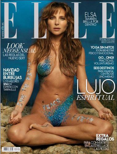 Elsa Pataky portada de Elle desnuda y llena de cristales de swarovski