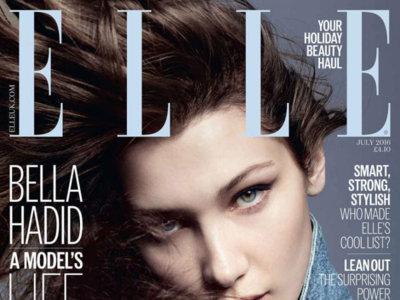 Bella Hadid en portada de la edición inglesa de la revista ELLE con una cazadora vaquera de Alexander Wang