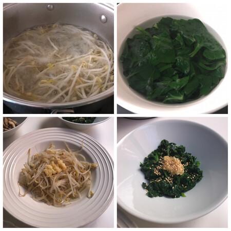 brotes de soja y espinacas bibimbap