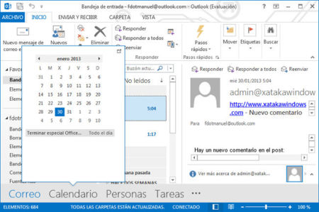 Outlook 2013, vista previa calendario
