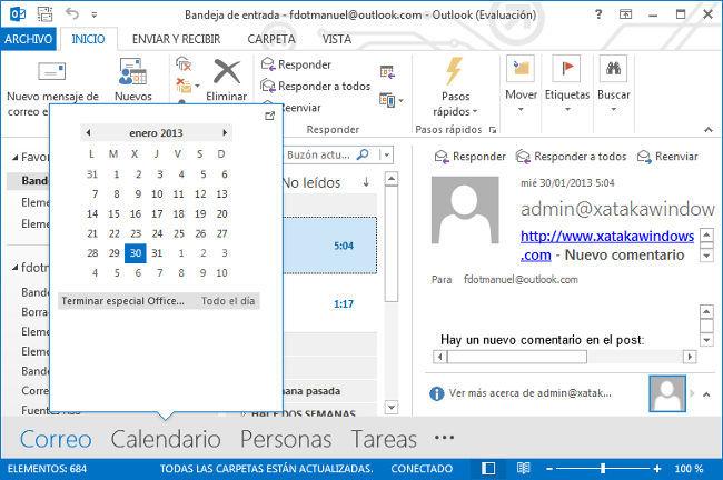 Outlook 2013, vista previa calendario