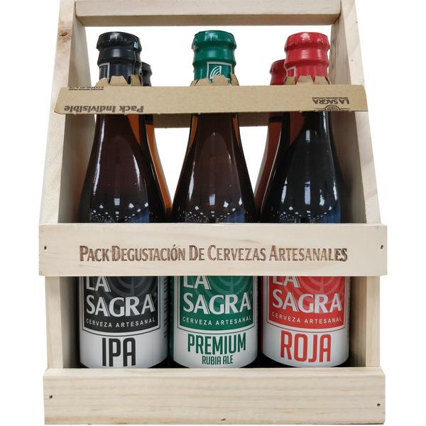 Cesta de madera variedades pack 6 botellas 33 cl