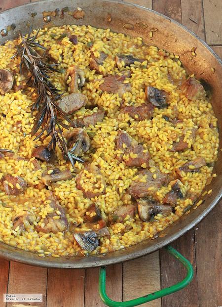 Receta de arroz con pluma ibérica y champiñones