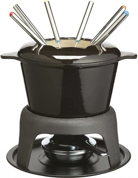 Masterclass Kitchen Craft Set De Fondue De Hierro Esmaltado Con 6 Pinchos Color Negro