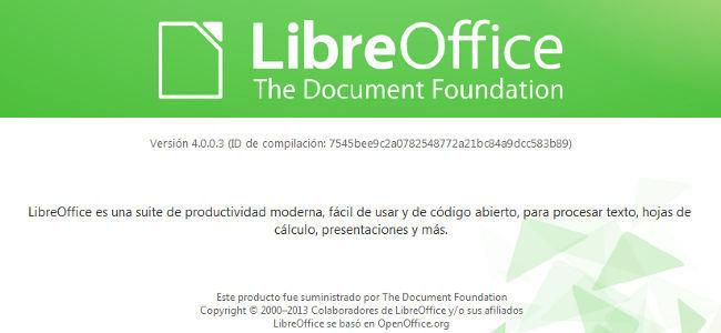 Pantalla de inicio de LibreOffice 4.0