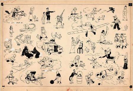 Artcurial ha subastado una página doble de Tintin, realizada en tinta china, por 2,65 millones de euros