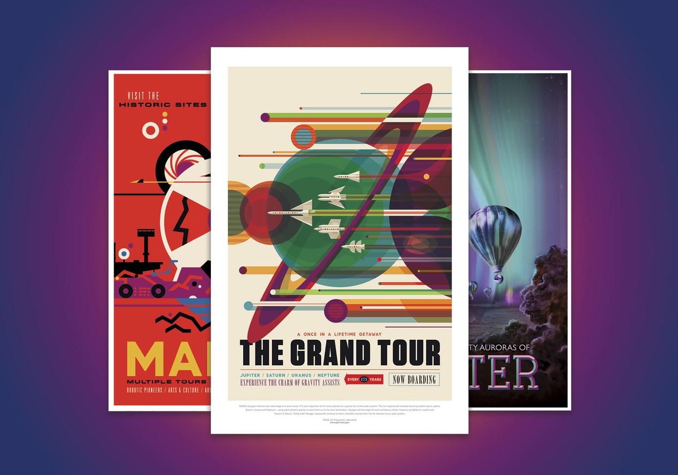 The Grand Tour: el paseo art deco de la NASA por el universo y lo que conocemos de cada parada