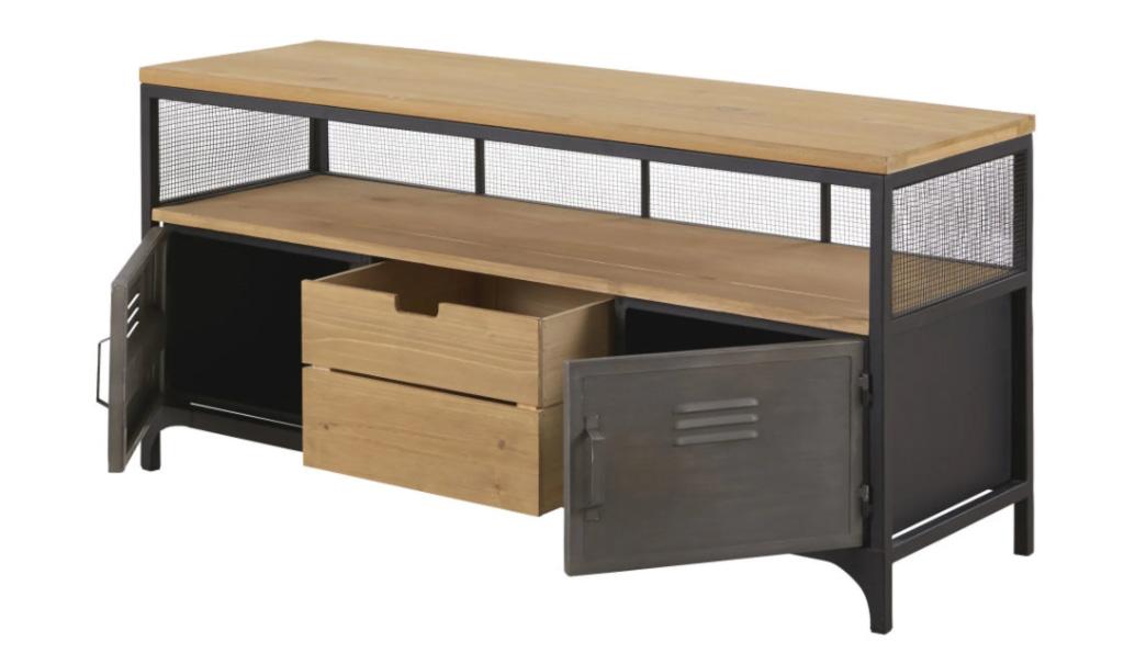 Mueble de TV industrial con 1 cajón y 2 puertas de abeto y metal Harvey