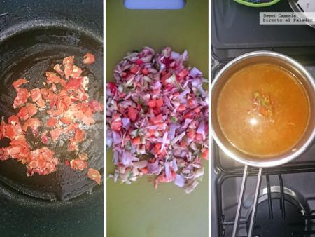 Preparacion sopa verduras jamon serrano