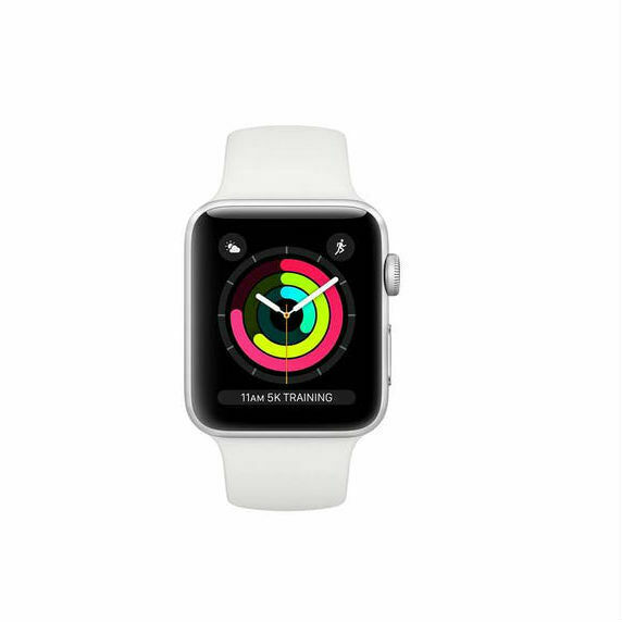 NUEVO Apple Watch Serie 3 MTEY2 - 38 mm plateado con banda deportiva blanca