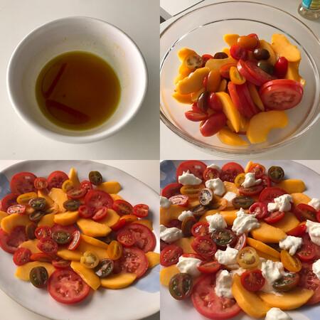 paso a paso ensalada de tomate, melocotón y burrata con aliño picante