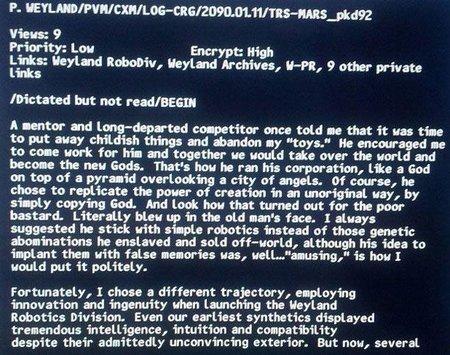 Una carta escrita por el personaje de Peter Wyland incluida en los extras de Prometheus