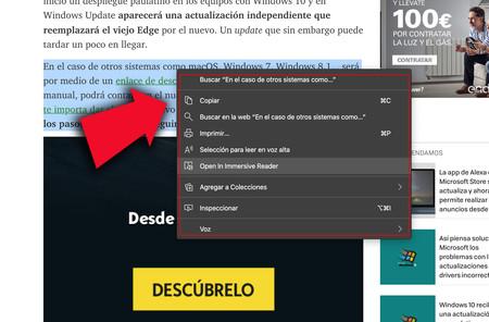 La versión Canary de Edge estrena una función para mejorar la lectura de texto en pantalla